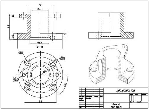 Чертёж фланца, созданный в 3d AutoCAD