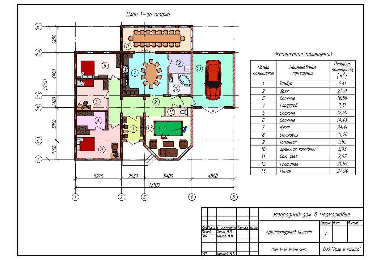 Строительный чертёж плана этажа дома в AutoCAD