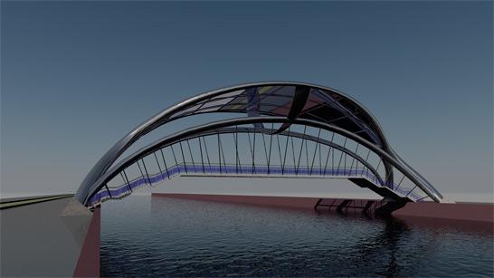 3d моделирование и визуализация моста в AutoCAD (экстерьер)